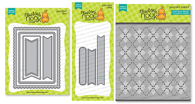 Frames & Flags Die Set, Banner Trio Die Set and Argyle Stencil Set by Newton's Nook Designs