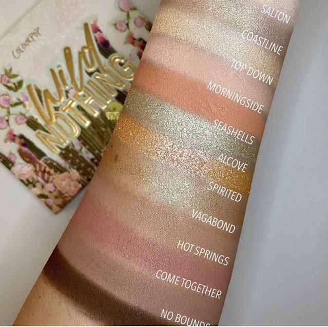 ColourPop Wild Nothing palette swatches on light skin
