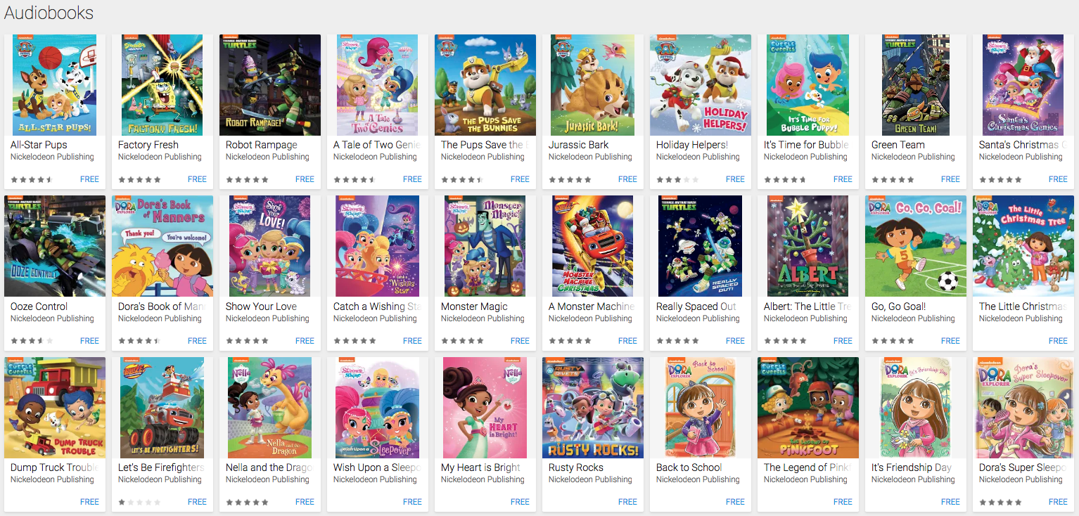 NickALive!: Google Play Offering 30 Nickelodeon Audiobooks for Free