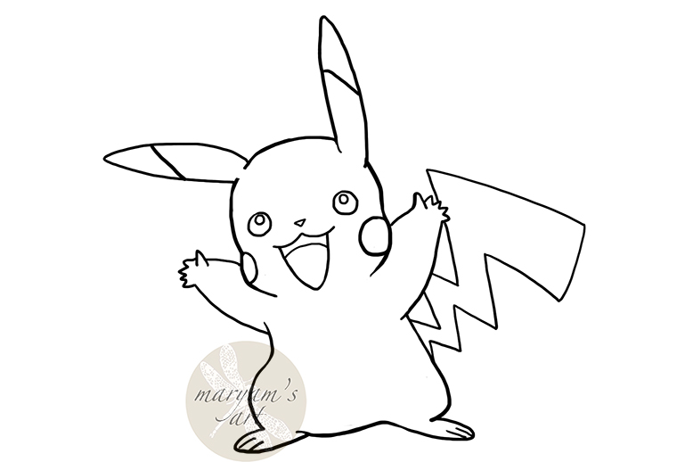 how to draw a simple pikachu