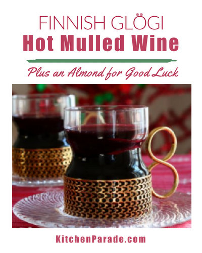 Glögi, the Mulled Wine ♥ KitchenParade.com, served hot in Nordic countries during winter.