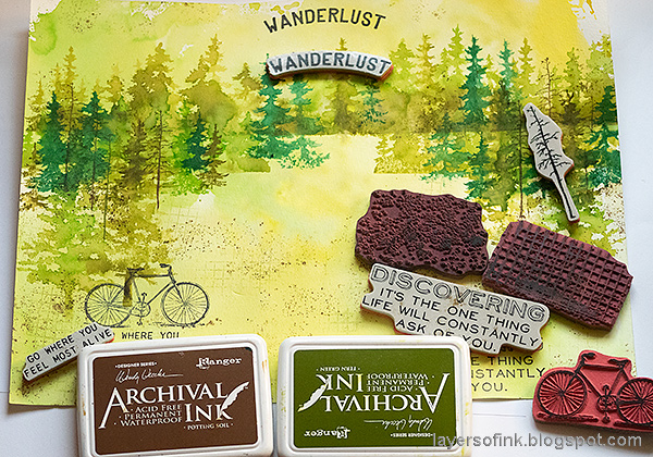 Layers of ink - Forest Layout by Anna-Karin Evaldsson. Stamping texture.