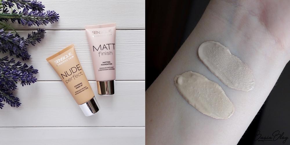 podkład Sensique Matt Finish 200 Ivory, Sensique Nude Perfect 400 Vanilla swatche