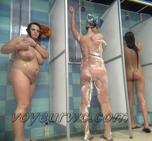 A hidden camera in a public shower films gorgeous women while they soap up their bodies (Hidden Camera Public Shower 316-321)