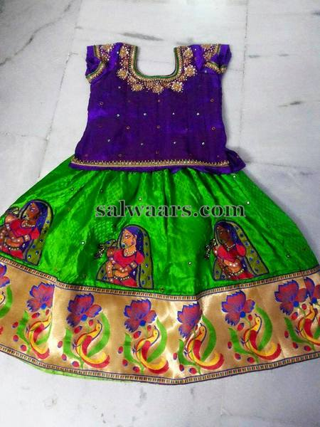 Green Lehenga Purple Blouse