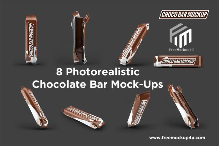 8 Photo realistic Chocolate Bar MockUps Bundle Pack