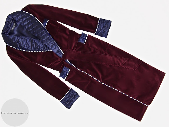 Mens red velvet dressing gown luxury robe quilted smoking jacket