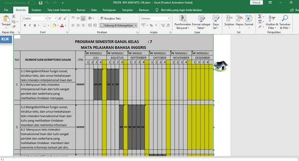 Tampilan Promes di Aplikasi Pembuat Prota Promes KKM Format Excel