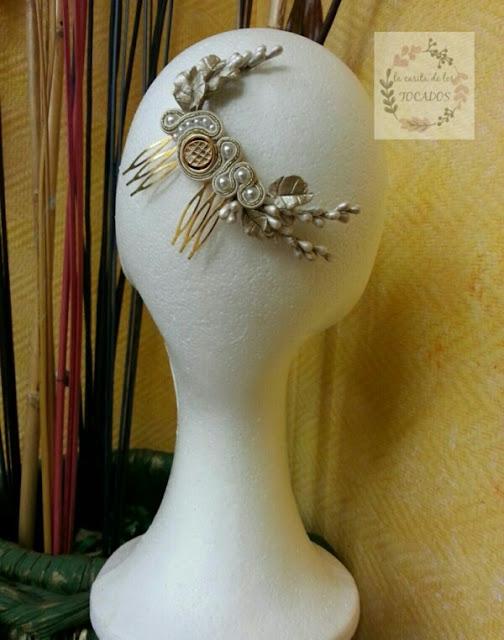 peineta vintage para novia con porcelana y soutache