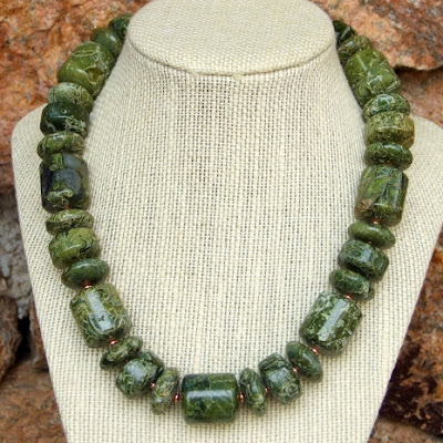 chunky green serpentine necklace with copper jewelry gift for her