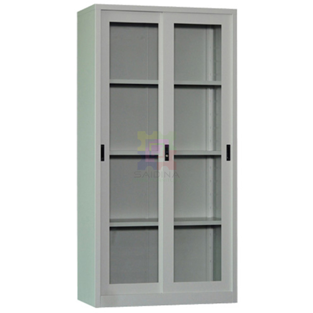 Almari Besi Pintu Kaca Sliding   Full Height Glass Sliding Door Steel Cupboard   Model: ST016
