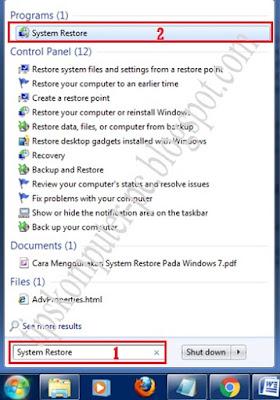 Hallo Sahabat  kali ini saya akan menawarkan Tips yang menarik yait Cara Menggunakan System Restore Windows 7