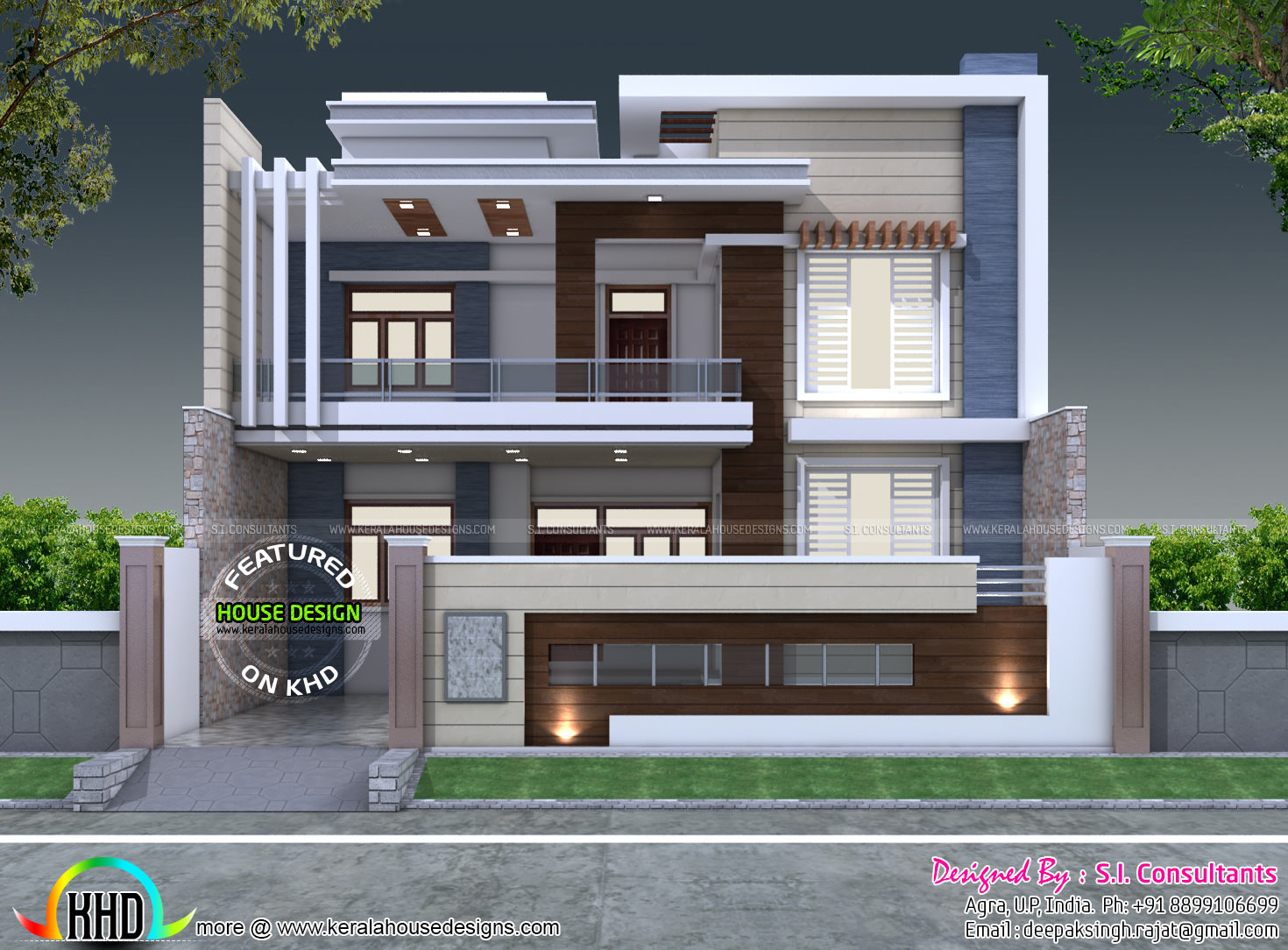 Front Elevation Designs 24 Feet Wide : X decorative style contemporary home kerala