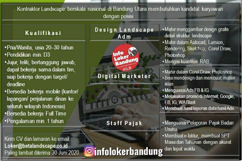 Lowongan Kerja Kontraktor Landscape Bandung Juni 2020