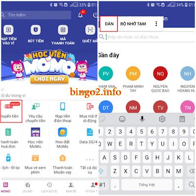 hướng dẫn nạp xu game bingo 2 qua momo bước 3