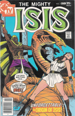 The Mighty Isis #7, Isis in chains as she is menaced by a giant snake summoned by an ancient Egyptian wizard