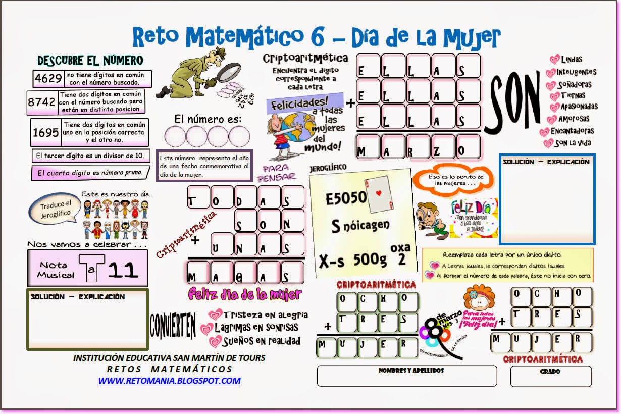 Jeroglíficos, Jeroglíficos escolares, Jeroglíficos para niños, Jeroglíficos con solución, Retos matemáticos, Desafíos matemáticos, Problemas matemáticos, Retos para pensar, Problemas de lógica, Día de la mujer, Criptoaritméticas, Criptogramas, Criptosumas,