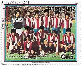 Selo Seleção Paraguaia de Futebol de 1986
