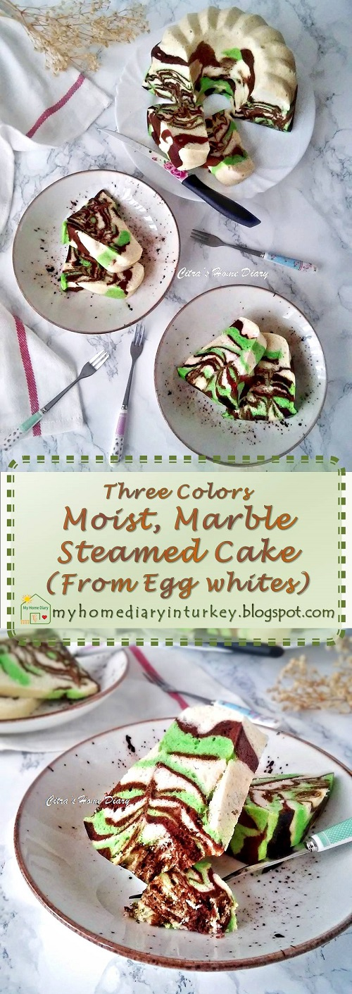 Three Colors Marble Steamed Cake ( from egg whites) / Bolu Kukus Marmer dari putih telur