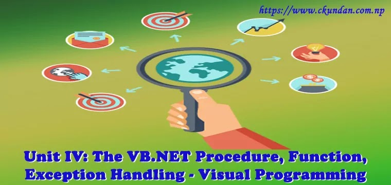 The VB.NET Procedure, Function, Exception Handling – Visual Programming