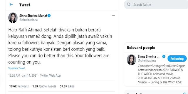 Artis Sherina Munaf Sentil Raffi Ahmad Yang Keluyuran Setelah Vaksin, Pakar: Tetap Harus Jaga Protokol, Dong!