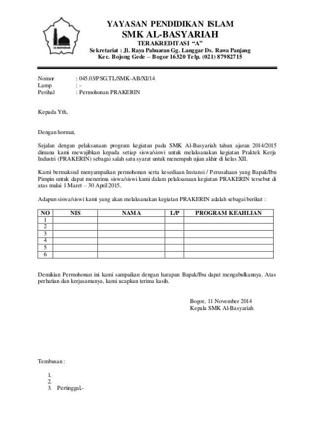 Contoh Surat Permohonan Pkl Smk