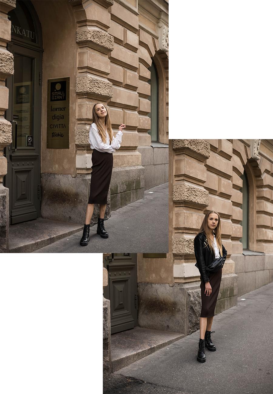 Kuinka yhdistää ribbattu kynähame // How to style ribbed pencil skirt