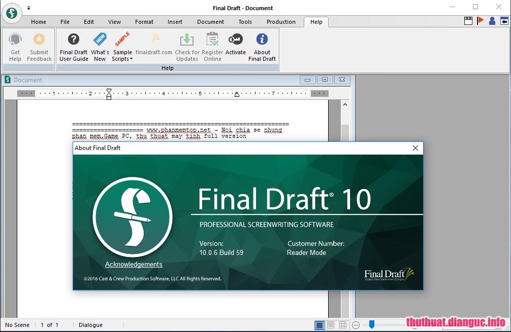 Download Final Draft 11.0.0 Build 33 Full Cr@ck – Phần mềm soạn thảo văn bản cho phim