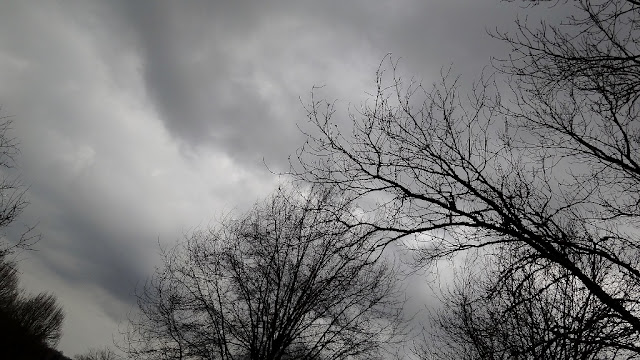 Gray skies with rolling clouds