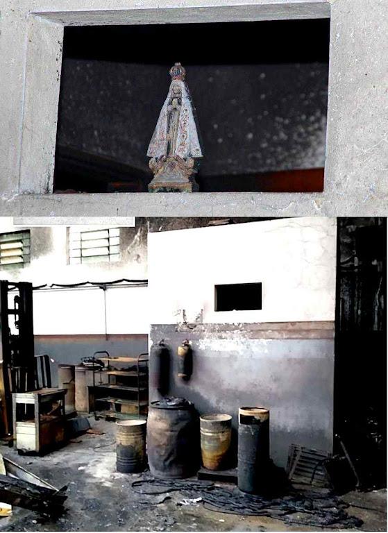 Acima: assim estava a Imagem antes do incêndio. Embaixo como ficou o local na oficina