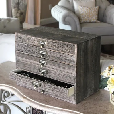Wooden 6 Drawer-Jewelry Storage Cabinet Desktop Organizer from Nile Corp