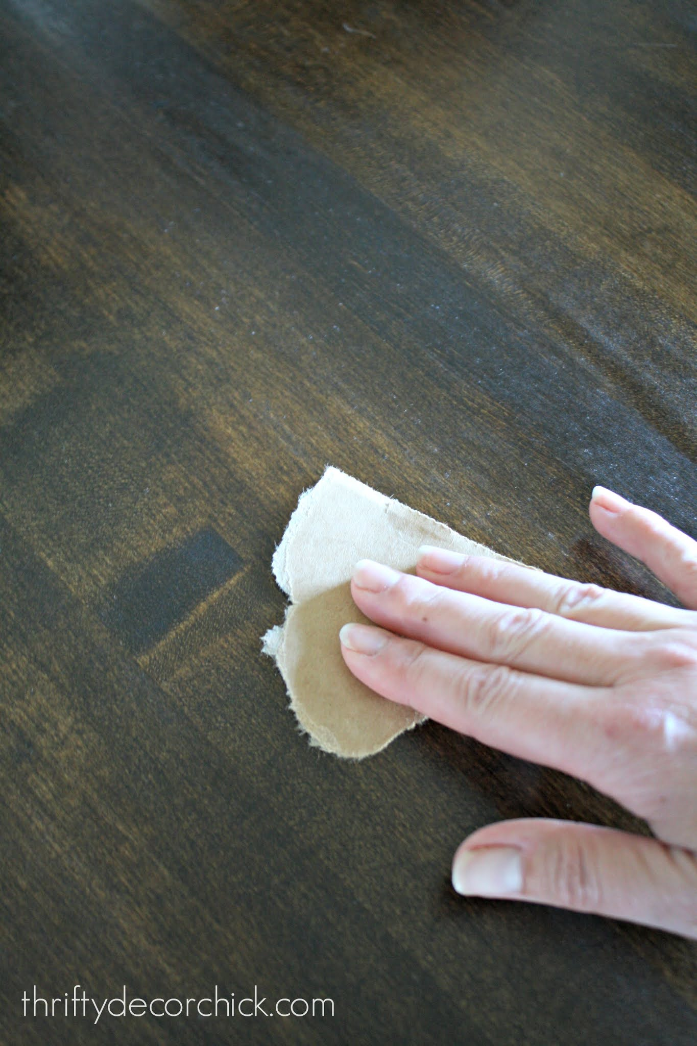sanding with paper bag