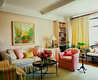 sala decorada con coral
