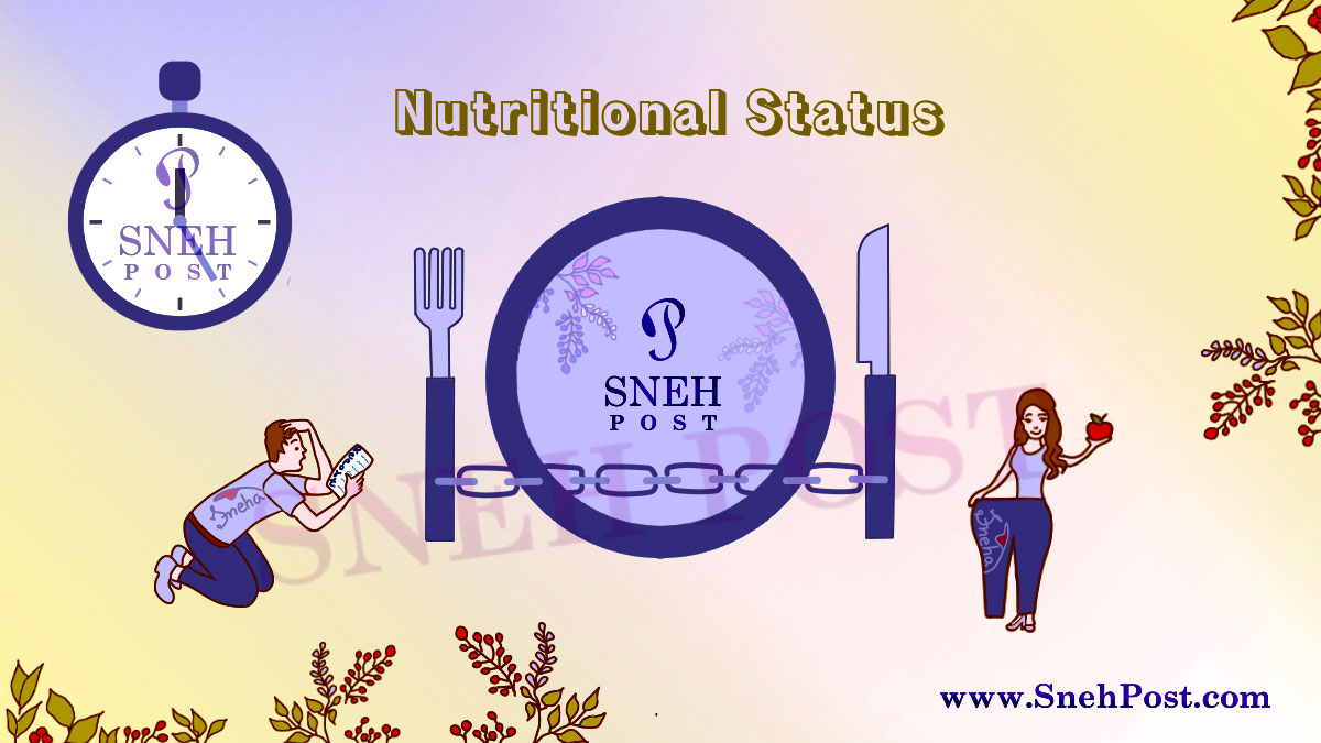 Human nutrition need: Illustration of a man tensed of his bad nutrition report and a lady with good nutrition showing an apple in hand and flaunting the weight loss. A watch and huge food plate with cutlery in background!