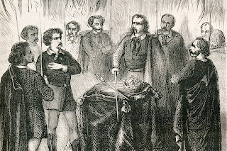 A drawing depicting the initiation of an Illuminati member. Universal Images Group / Getty Images