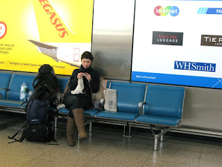 knitting on airport