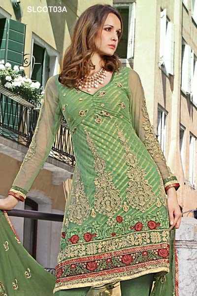 6dafdf11d962c Broad border crafted with intricate embroidered decorative pattern panels.  Green color salwar or pajama and matching dupatta.