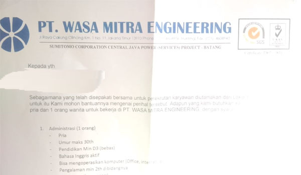 Lowongan Kerja PT. Wasa Mitra Engineering PLTU 2 x 1000 MW Batang