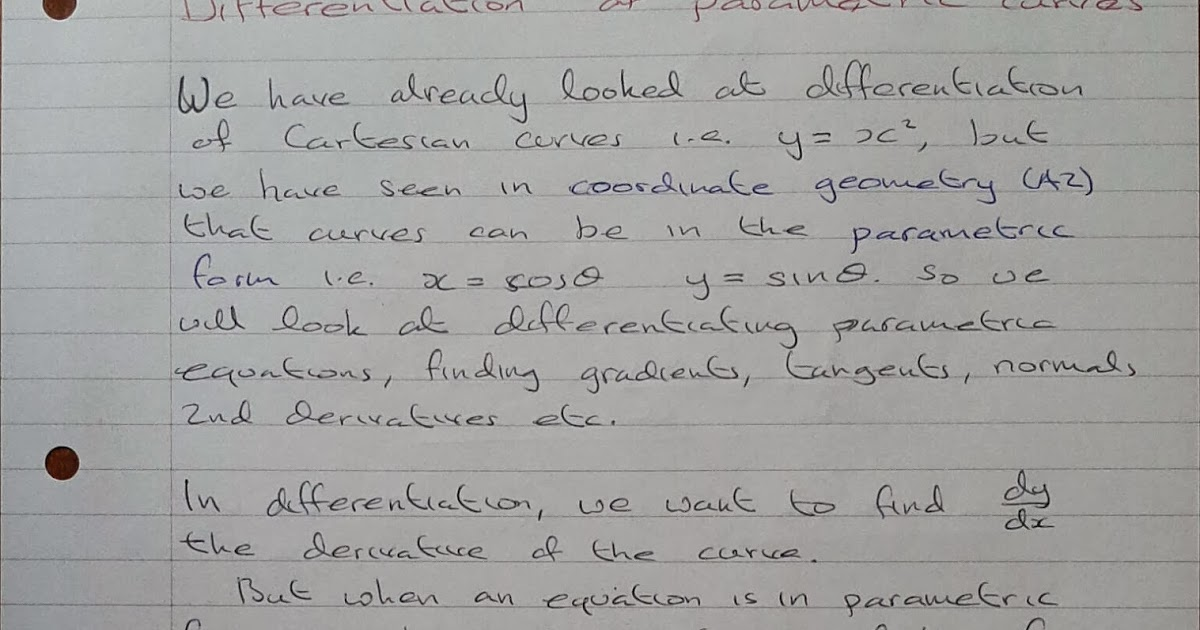 A Level Maths Notes: A2 Differentiation: Parametric