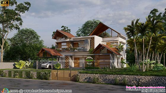 Unique style house design with 4 bedrooms