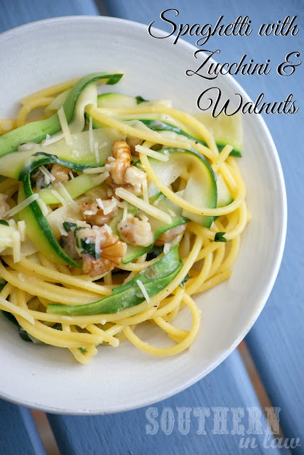 Gluten Free Spaghetti with Zucchini, Walnuts and Parmesan Cheese