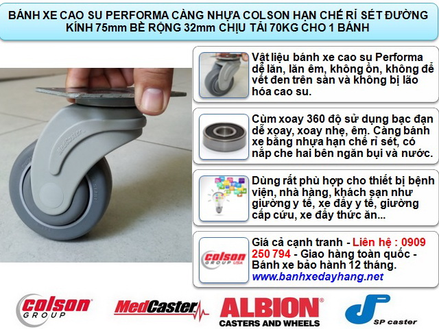 Bánh xe xoay 360 càng nhựa Colson 3 inch chịu tải nhẹ | STO-3856-448 www.banhxepu.net