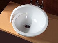 Spiral şekilli tezgah üstü beyaz lavabo