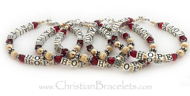 Faith Hope Love Red Message Bracelets