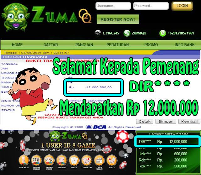 ZumaQQ BandarQ Online Selamat Kepada Pemenang Periode 3 Agustus 2019