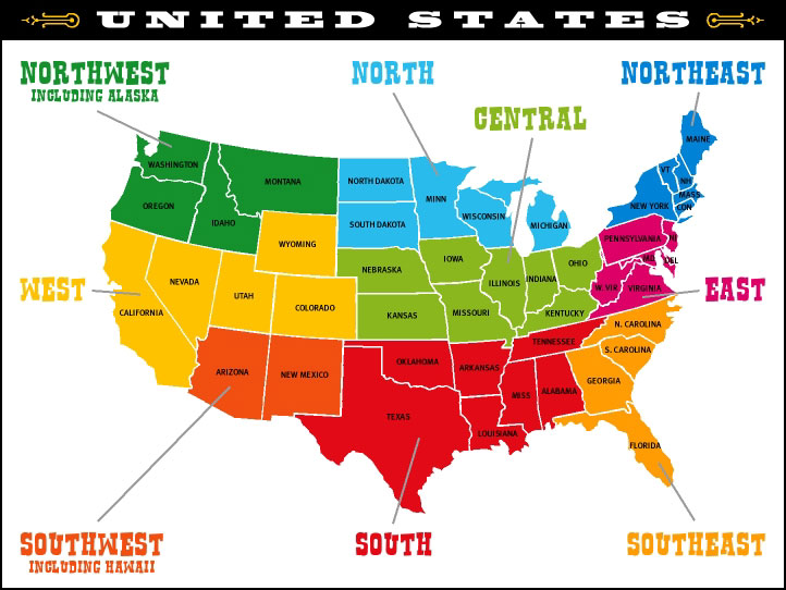 Us Map State Map - Us-map-sections