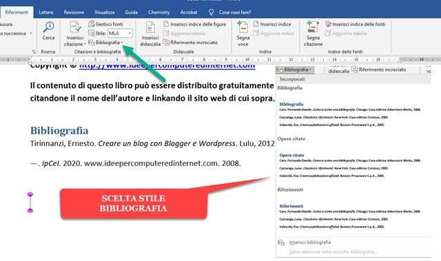 aggiungere una bibliografia a un documento
