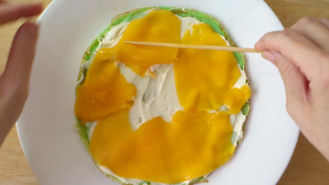 mango mille crepe cake photo