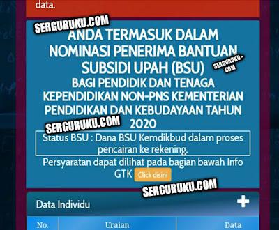Tampilan Penerima BSU Guru Honorer Kemendikbud Info GTK
