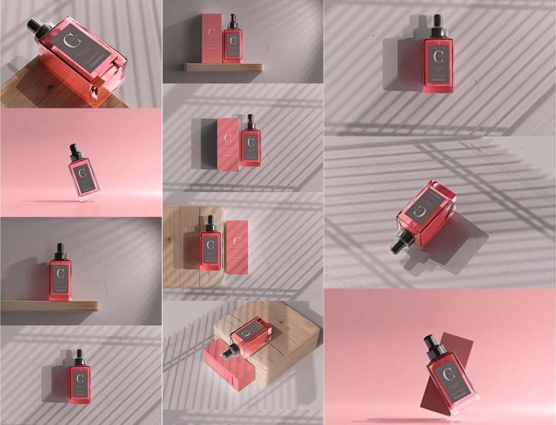 Square Perfume Bottle With Box PSD Mockup